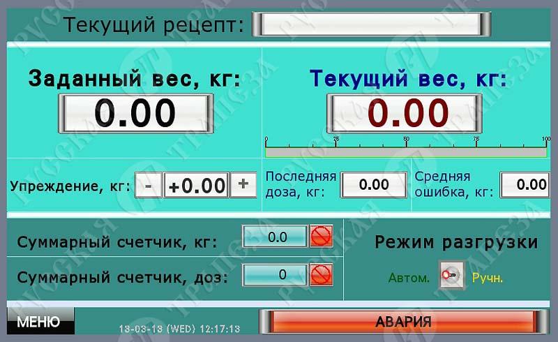 Экран щита дозатора-смесителя 1