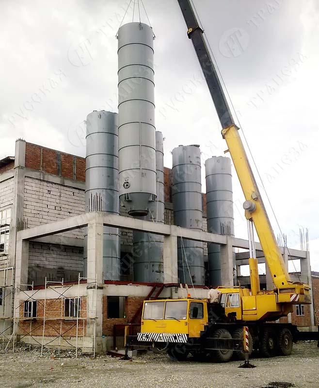Монтаж силоса из углеродистой стали (силоса металлического)