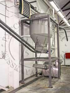 перемещение продукта из бункера технологического по спиральному транспортеру